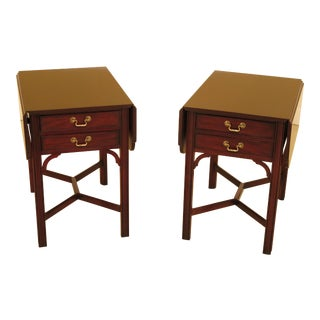 Henkel Harris Chippendale Mahogany Pembroke Tables - a Pair