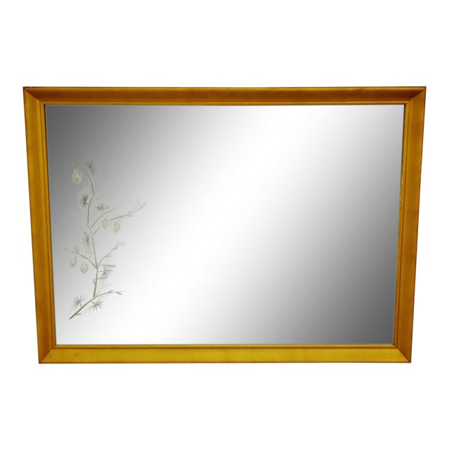 MCM Gold Gilt Framed Etched Glass Wall Mirror For Sale
