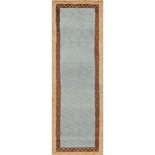 """Momeni Desert Gabbeh Hand Knotted Slate Wool Runner - 2'6"""" X 8' For Sale"""