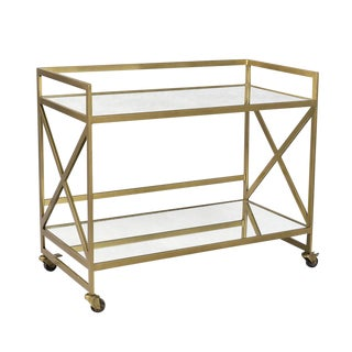 Brass & Glass Bar Cart For Sale