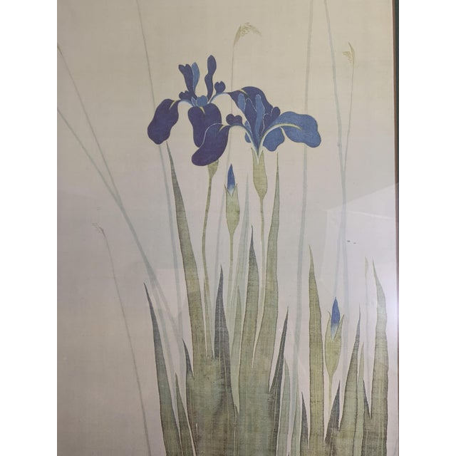 Mid 20th Century Vintage Mid-Century Irises and Water Fowl Framed Japanese Print For Sale - Image 5 of 13
