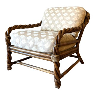 Vintage McGuire Braided Rattan Chair For Sale