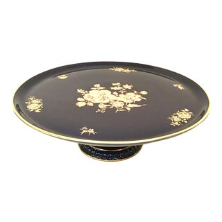 20th Century German Porcelain & 22-Karat Gold Footed Cake Platter By Bareuther For Sale