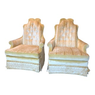 Vintage Pair of Pale Yellow Arm Chairs For Sale