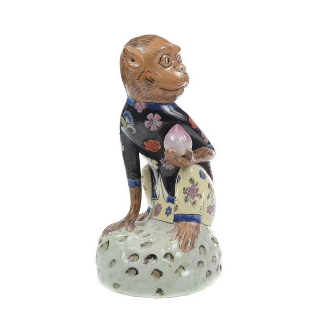 Antique Chinese Painted Porcelain Monkeys -A Pair - Image 5 of 9