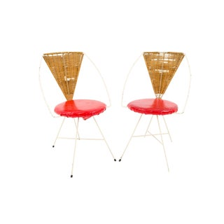 Arthur Umanoff Mid Century Modern Iron and Wicker Vanity Chairs - a Pair For Sale