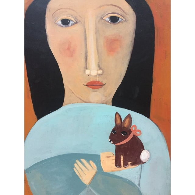 "Contemporary Folk Artist Rose Walton "" The Rabbit"" Oil Painting - Image 4 of 5"