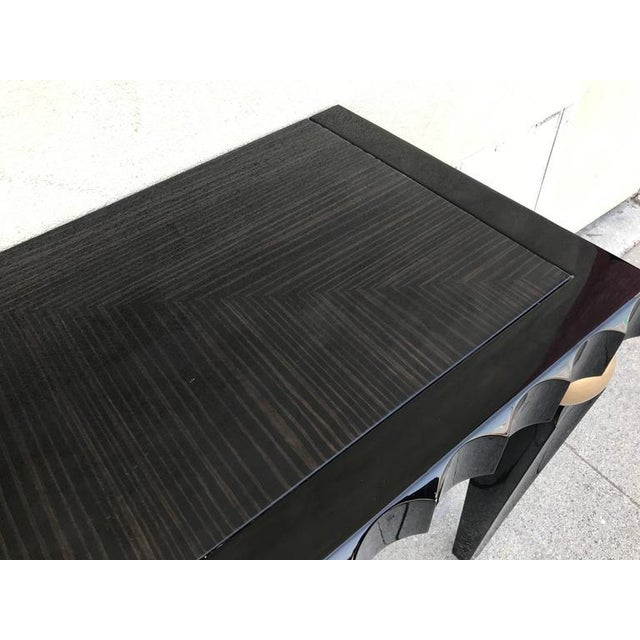 Black Lacquer And Macassar Console For Sale - Image 4 of 6