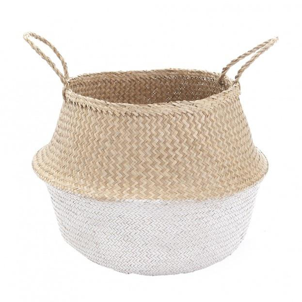 White Dipped Seagrass Belly Basket For Sale - Image 4 of 4
