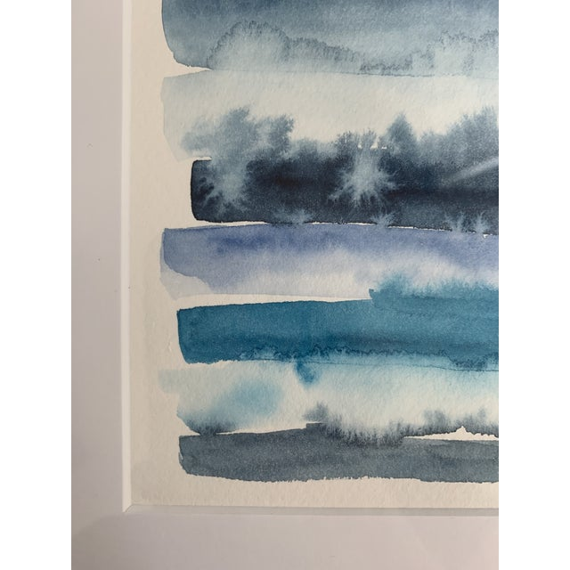 Original Abstract Watercolor in Shades of Blue For Sale - Image 4 of 10