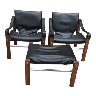 Mid Century Modern Maurice Burke Two Safari Chairs and Ottoman - Set of 3 For Sale