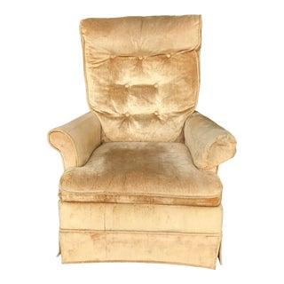 Tufted Gold Velvet Swivel Chair For Sale
