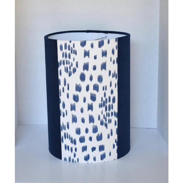 Contemporary Blue Les Touches Velvet Drum Lampshade For Sale - Image 3 of 3