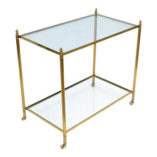 Maison Jansen Bronze 2-Tier Neoclassical Side Table, Serving Cart Casters France For Sale