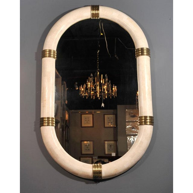 Pair of Stone Veneered Racetrack Mirrors by Maitland-Smith, Ltd. For Sale In New York - Image 6 of 6