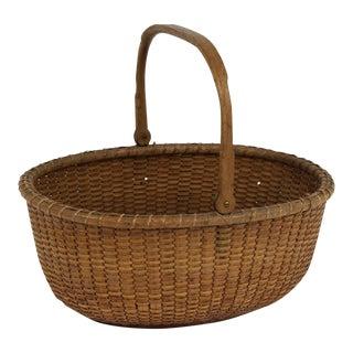 Vintage Nantucket Oval Handled Basket For Sale