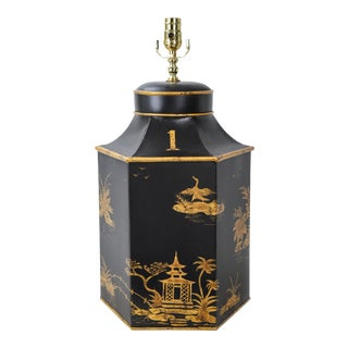 No. 1 Chinoiserie Handpainted English Export Hexagonal Tole Tea Caddy Lamp For Sale