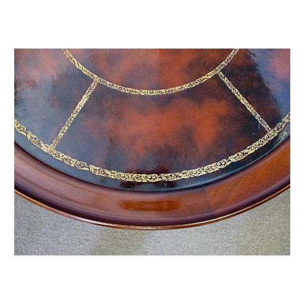 Two-Tiered Round Mahogany & Leather Coffee Table - Image 4 of 4