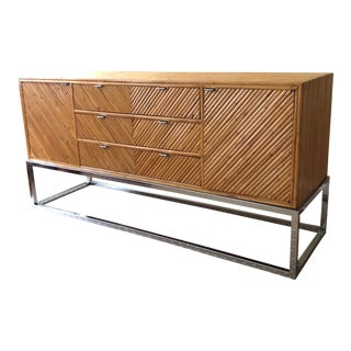 Mid-Century Milo Baughman Style Bamboo On Chrome Base Credenza For Sale
