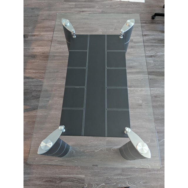 2010s Modern Glass Top Dining Table For Sale - Image 5 of 7