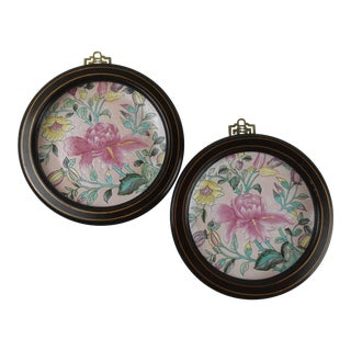 Chinese Botanical Art Pink Decorative Plates - a Pair For Sale