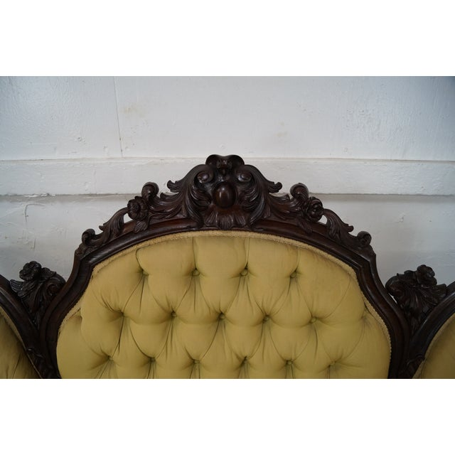 Antique 19th Century Victorian Carved Rosewood Settee Loveseat For Sale In Philadelphia - Image 6 of 10