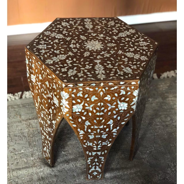 Brown Contemporary Syrian Mother of Pearl Inlaid Side Table For Sale - Image 8 of 8