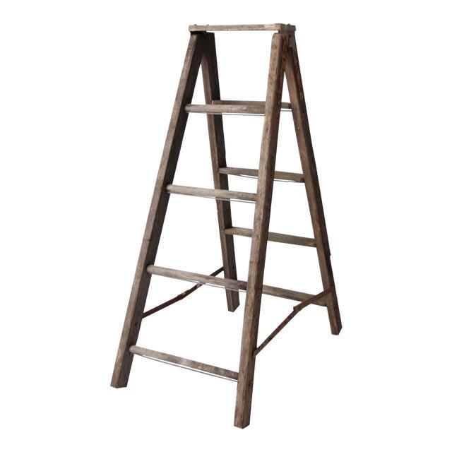 Vintage Wooden Folding Ladder For Sale