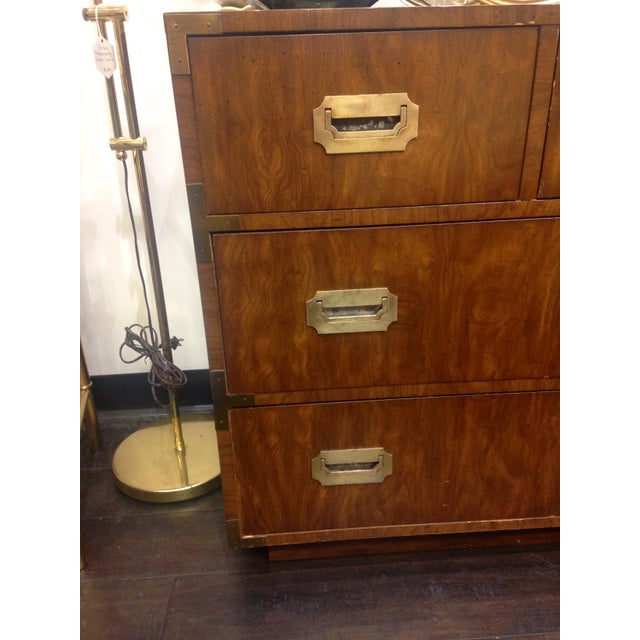 Metal 20th Century Campaign Dixie 7-Drawer Lowboy Dresser For Sale - Image 7 of 9