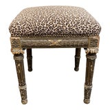 Image of Early 20th Century Leopard Print Needlepoint Bergere Stool For Sale
