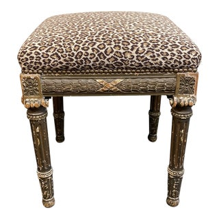 Early 20th Century Leopard Print Needlepoint Bergere Stool For Sale