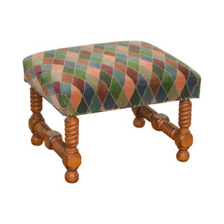 Brunschwig & Fils Colorful Diamond Pattern Upholstered Turn Leg Ottoman or Bench