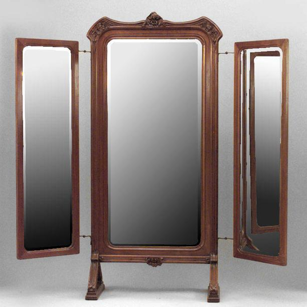 French Art Nouveau Walnut 3 Way Cheval Mirror For Sale - Image 10 of 10