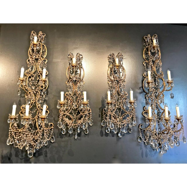Metal Pair Italian Beaded Sconces C. 1950s For Sale - Image 7 of 8