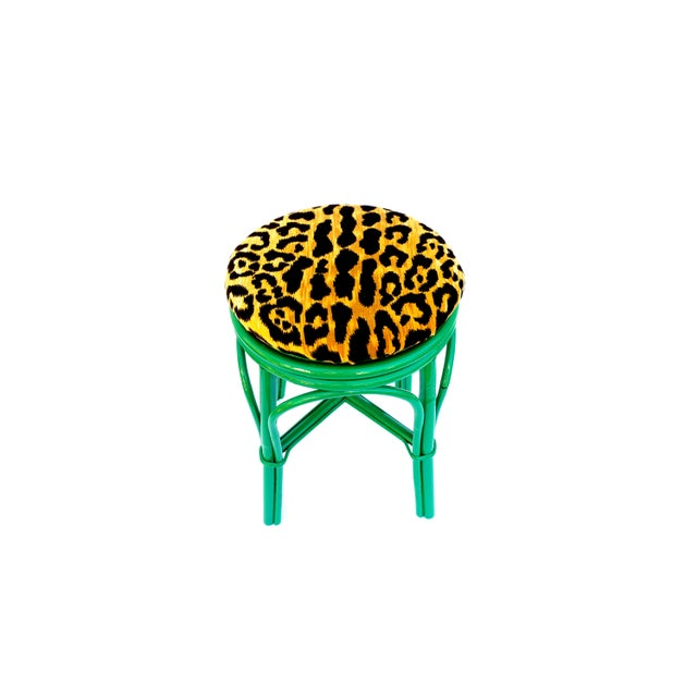Green Vintage Emerald Green & Leopard Velvet Rattan Bamboo Accent Stool For Sale - Image 8 of 12