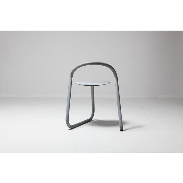 Danish Stackable Chairs in Galvanized Steel by Erik Magnussen For Sale - Image 4 of 12