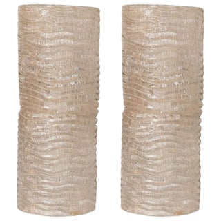 Mid-Century Modern Organic Ribbed and Textured Glass Sconces - a Pair For Sale