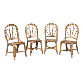 Bentwood Bamboo and Wicker Chairs - Set of 4