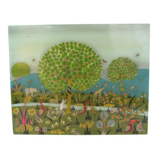 Vintage Mexican Painting of Eve in the Garden of Eden Surrounded by Animals For Sale