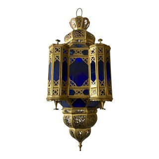 Moroccan Brass and Blue Glass Lantern For Sale
