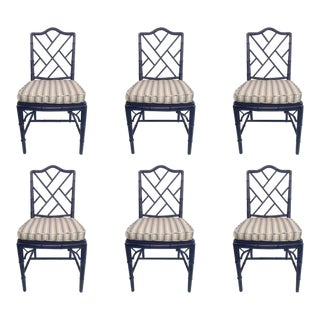 Navy Faux Bamboo Side Chairs - Set of 6