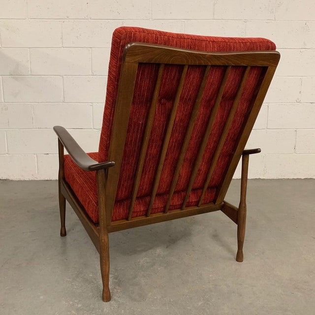 1960s Vintage Danish Modern High Back Maple Lounge Chair For Sale - Image 4 of 8