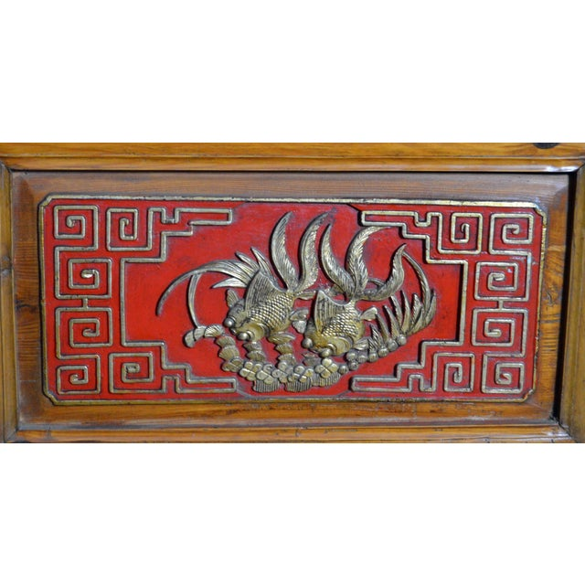 Mid 19th Century 19th Century Chinese Qing Dynasty Wooden Armoire With Hand-Carved Gilt Panels For Sale - Image 5 of 13