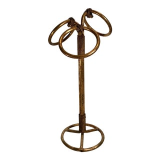 Hollywood Regency Italian Gilt Metal Towel Holder For Sale