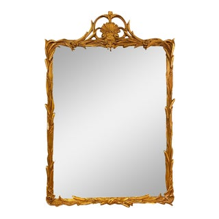Gilt Carved Shell Motif Italian Mirror For Sale