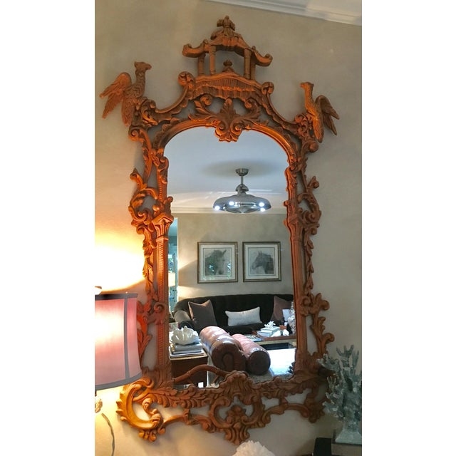 Chinese Chinese Chippendale Style Pagoda Mirror With Hoho Birds For Sale - Image 3 of 9