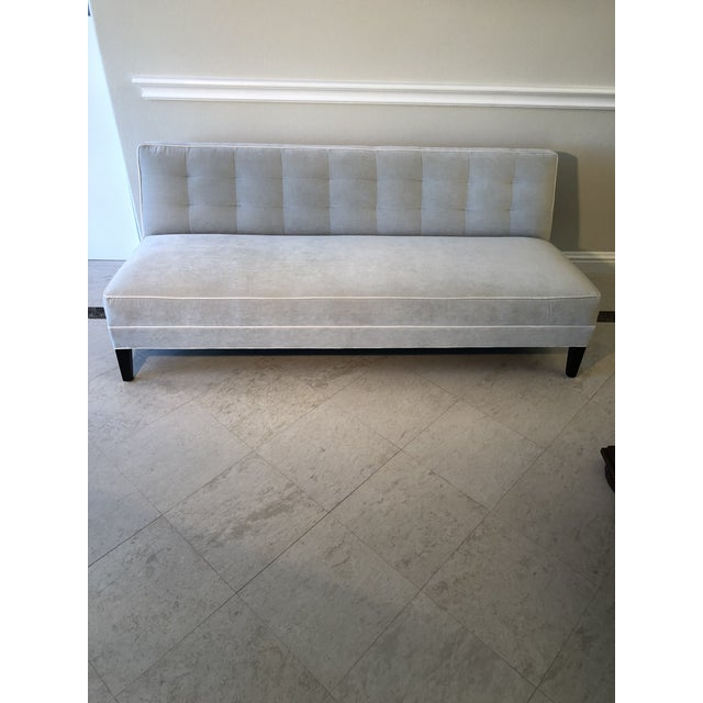 Mitchell Gold Bob Williams Modern Gray Velvet Sofa For Sale In Los Angeles - Image 6 of 6