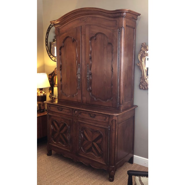 French Provincial French Provincial Walnut Buffet-A-Deux-Corps/Cabinet For Sale - Image 3 of 6