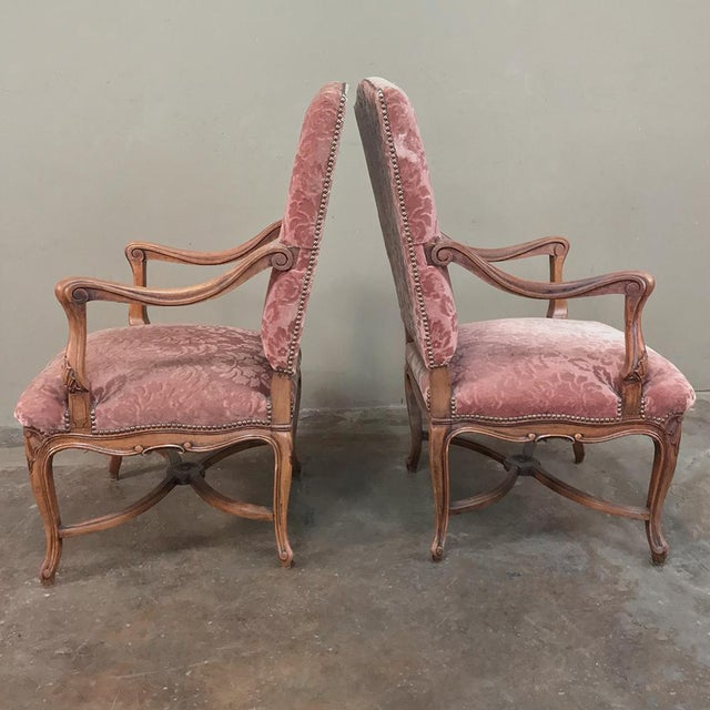 Wood Pair Armchairs, 19th Century French Louis XV in Walnut For Sale - Image 7 of 13