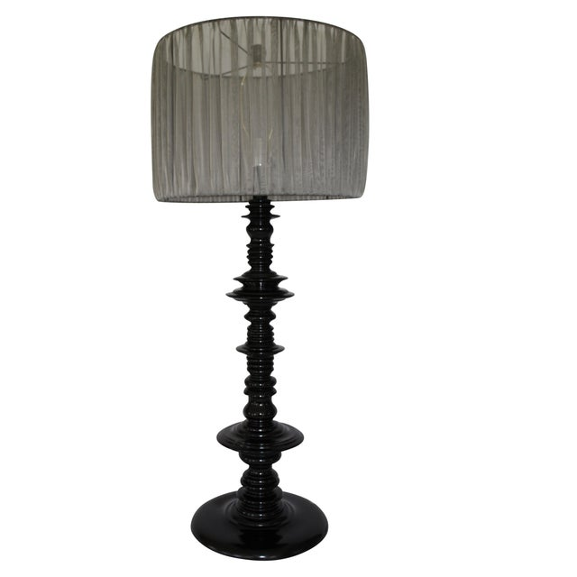 Large Scale Lacquered Wood Spindle Lamp For Sale